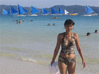 Swimming in the sea at Boracay Island in the Philippines