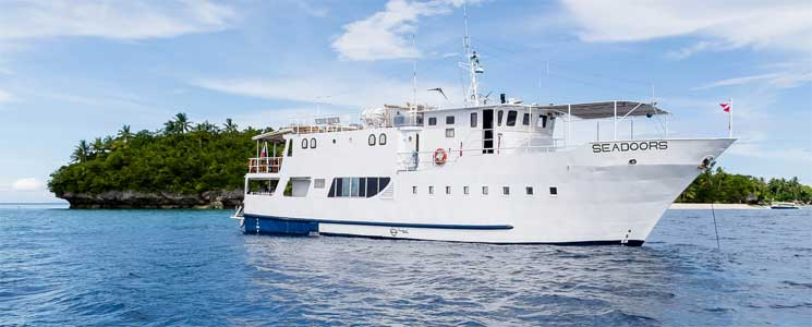 Seadoors Liveaboard Ship sails in the Philippines.