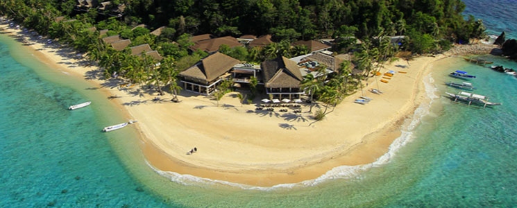 Aerial view of Pangulasian Island luxury resort, Philippines