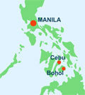 Map showing Cebu and Bohol, in the Philippines