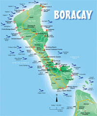 Tourist Map of Boracay, Philippines, showing the best diving spots