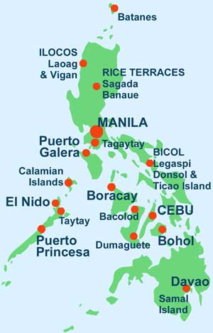 Philippines Travel Information Map Of The Most Popular Tourist