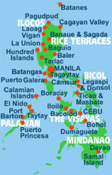 Map of the Philippines most popular tourist destinations
